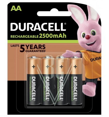 Duracell Rechargeable Battery AA Mignon HR06 2500mAh Ni-Mh, 4 Pack