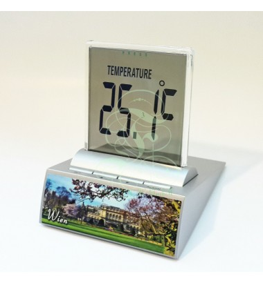 LCD multi-function alarm clock displaying the Stadtpark in Vienna, with thermometer, timer and date functions; Incl. high performance Duracell battery