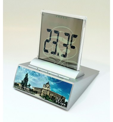 LCD multi-function alarm clock displaying the statue of Maria Theresia in Vienna, with thermometer, timer and date functions; Incl. high performance Duracell battery