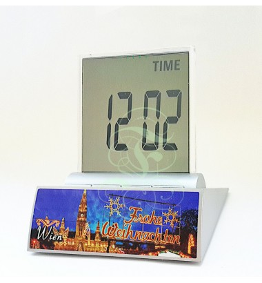 LCD multi-function alarm clock displaying Christmas in Vienna, with thermometer, timer and date functions; Incl. high performance Duracell battery