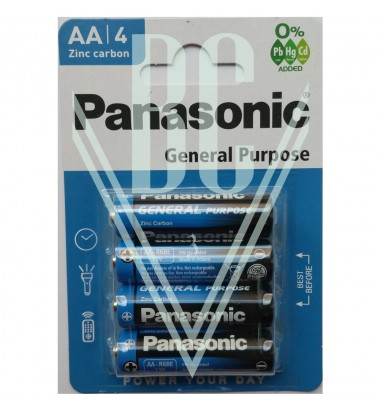 Panasonic General Purpose Battery AA Mignon R6 R6RZ, 4 Pack