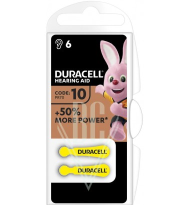 Duracell Hearing Aid Battery DA10 PR10 PR70 1,4V, 6 Pack
