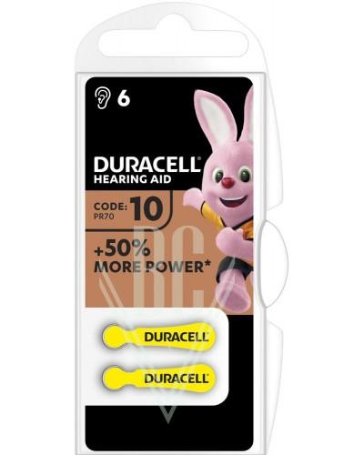 Duracell Hearing Aid Battery DA10 PR10 PR70 1,4V, 6 Pack