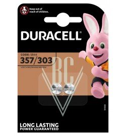 Duracell Watch Battery 357/303 SR44 SR1154 SG13 LR44, 2 Pack