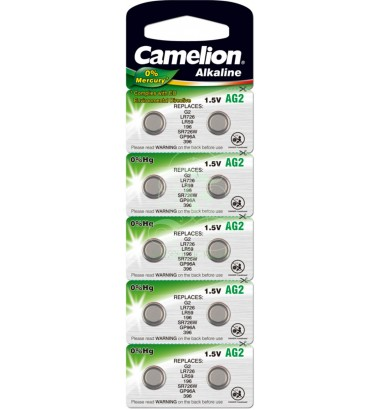 Camelion Buttoncell Battery AG2 LR59 LR726 396 397, 10 Pack