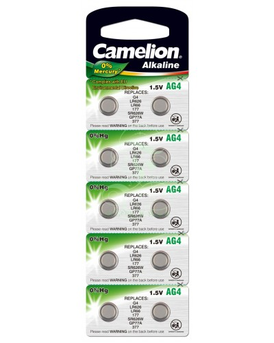 Camelion Buttoncell Battery AG4 LR66 LR626 376 377, 10 Pack
