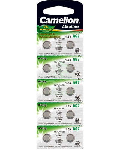 Camelion Buttoncell Battery AG7 LR57 LR926 395 399, 10 Pack