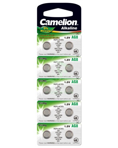 Camelion Buttoncell Battery AG8 LR55 LR1121 381 391, 10 Pack