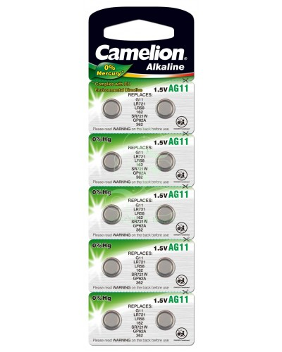 Camelion Buttoncell Battery AG11 LR58 LR721 361 362, 10 Pack