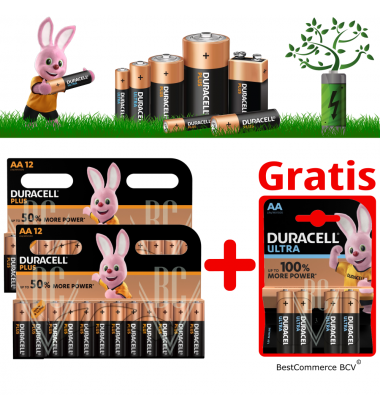 PROMOTION 2 x 12 Pack Duracell Plus Power AA + FREE 4 Pack Ultra Power AA