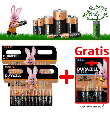 PROMOTION 2 x 12 Pack Duracell Plus Power AAA + FREE 4 Pack Ultra Power AAA