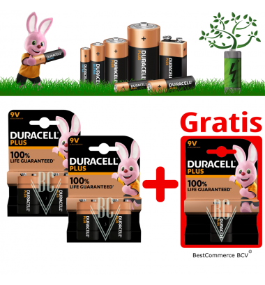 PROMOTION 2 x 2 Pack Duracell Plus Power 9V + FREE 1 Pack Plus Power 9V