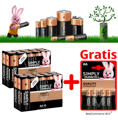 PROMOTION 2 x 10 Pack Duracell Simply AA + FREE 4 Pack Simply AA