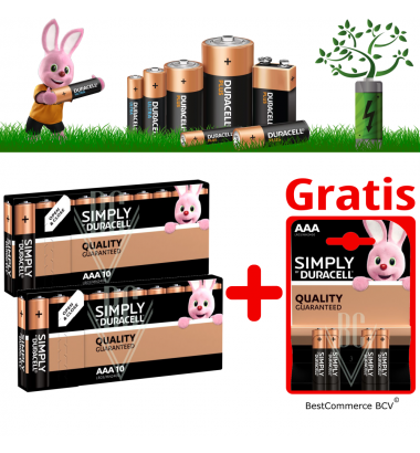 PROMOTION 2 x 10 Pack Duracell Simply AAA + FREE 4 Pack Simply AAA