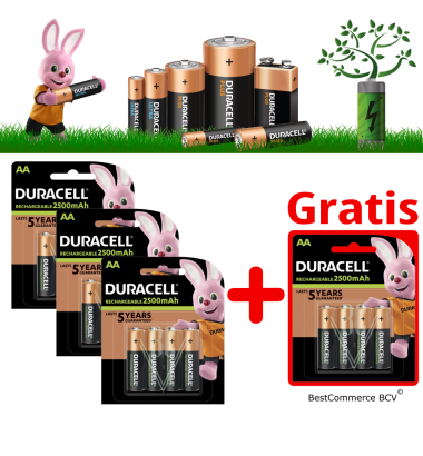 PROMOTION 3 x 4 Pack Duracell Rechargeable Battery AA 2500mAh + FREE 4 Pack AA 2500mAh