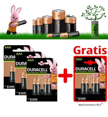 PROMOTION 3 x 4 Pack Duracell Rechargeable Battery AAA 900mAh + FREE 4 Pack AAA 900mAh