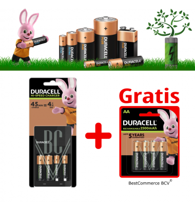 PROMOTION 1 x Duracell Charger CEF14 Set + FREE 4 Pack AA 2500mAh